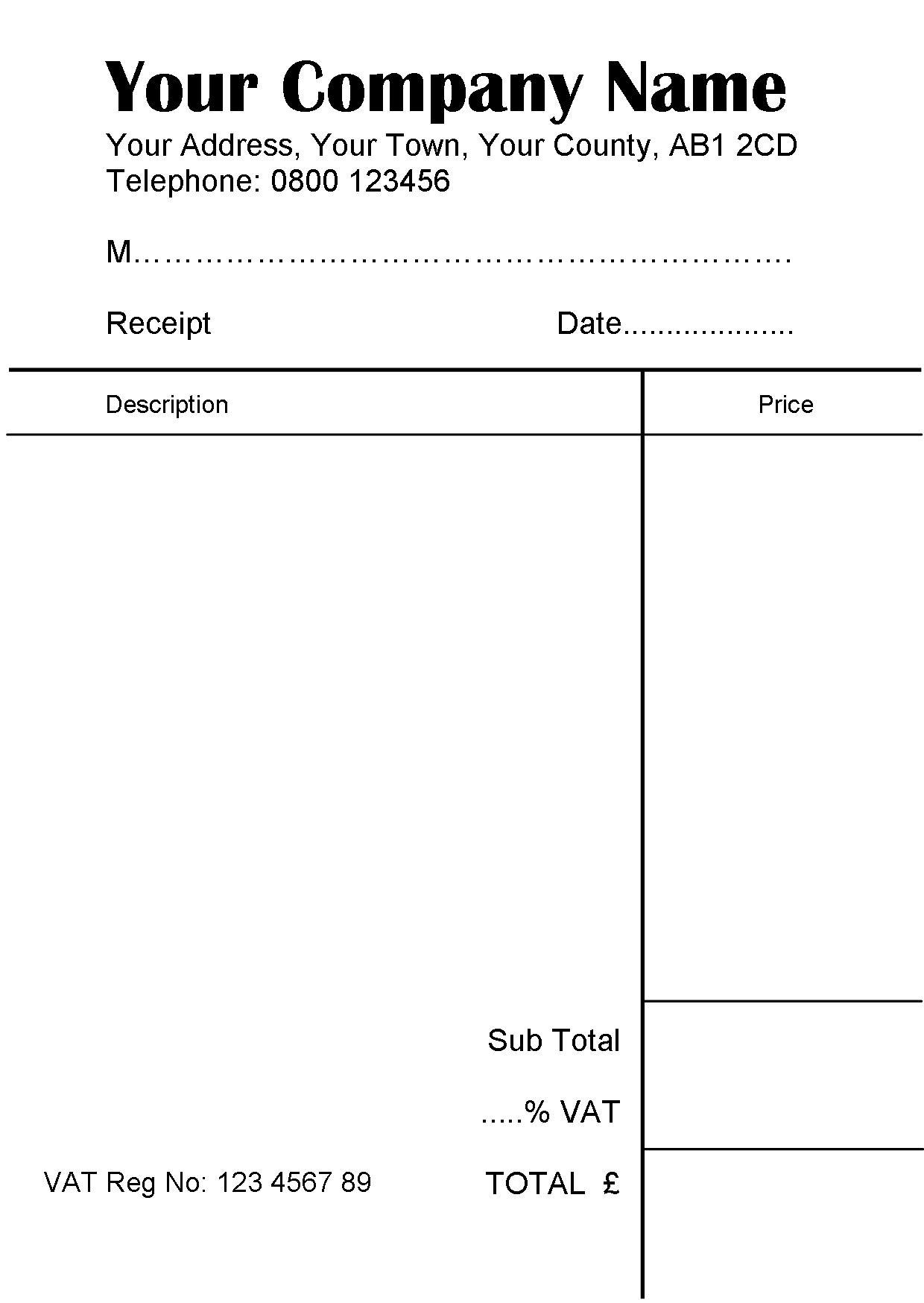 4 x 100 sheet Personalised Receipt Pads - Free Design | eBay